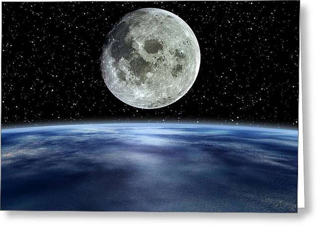 Moonrise Greeting Cards - Computer Artwork Of Full Moon Over Earths Limb Greeting Card by Julian Baum