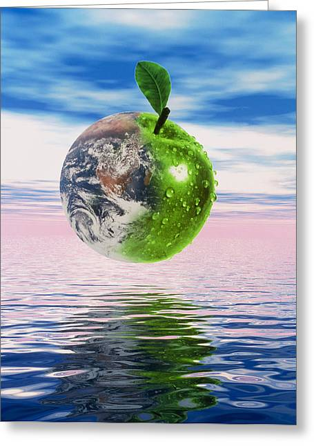 Computer Artwork Of Half Earth And Half Apple Greeting Card by Victor Habbick Visions