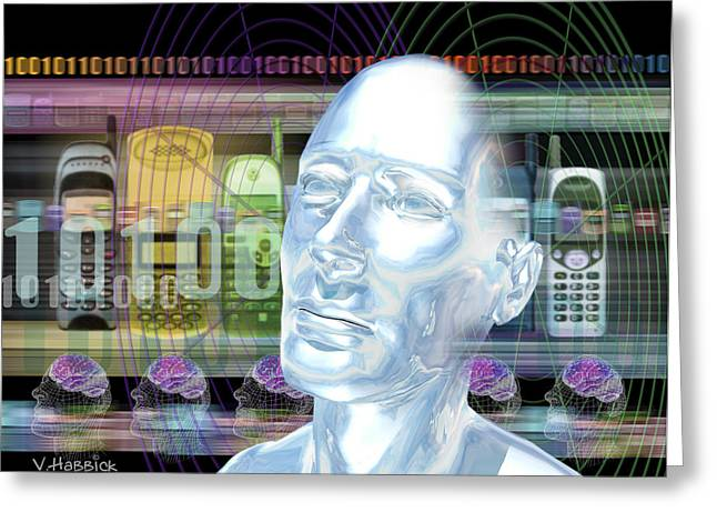 Cellular Greeting Cards - Computer Artwork Of Mans Head With Mobile Phones Greeting Card by Victor Habbick Visions