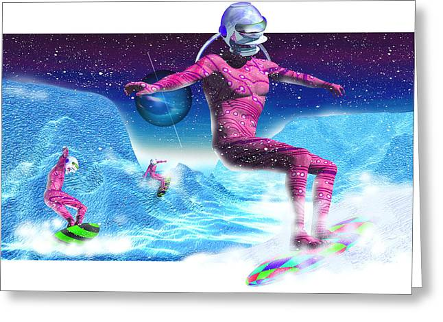 Spacesuit Greeting Cards - Computer Artwork Of Men Snowboarding On Titan Greeting Card by Victor Habbick Visions