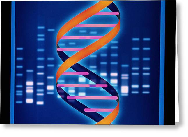 Computer Artwork Of Some Dna With Its Genetic Code Greeting Card by Laguna Design