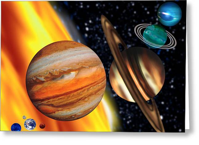 Computer Artwork Showing Relative Sizes Of Planets Greeting Card by Victor Habbick Visions