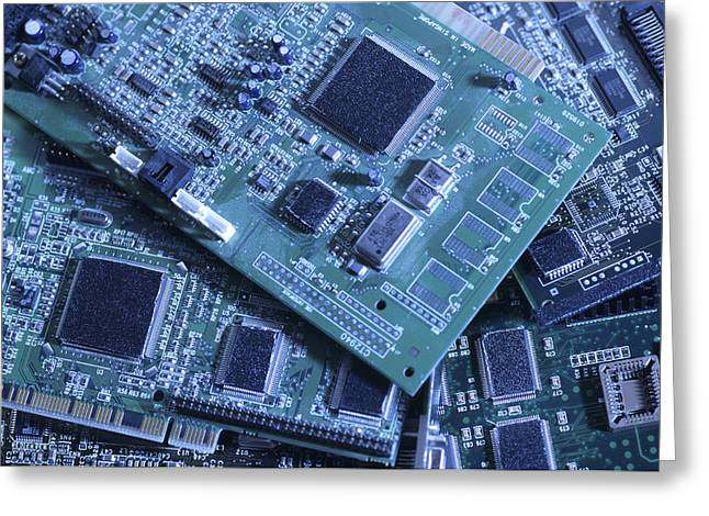 Best Sellers -  - Processor Greeting Cards - Computer Boards And Chips Lie In A Pile Greeting Card by Taylor S. Kennedy