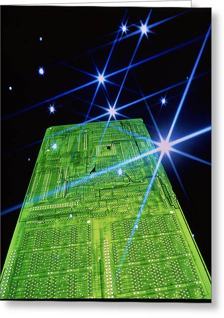 Non-integrated Greeting Cards - Computer Circuit Board Greeting Card by Pasieka
