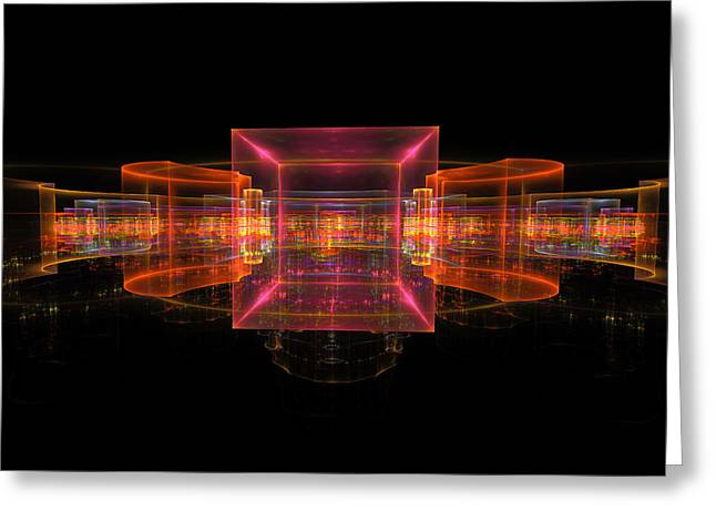 Shiny Digital Art Greeting Cards - Computer Generated 3D Abstract Fractal Flame Modern Art Greeting Card by Keith Webber Jr