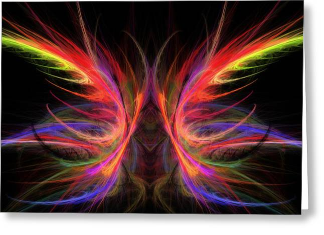 Psychedelic Photographs Greeting Cards - Computer Generated Abstract Butterfly Fractal Flame Art Greeting Card by Keith Webber Jr