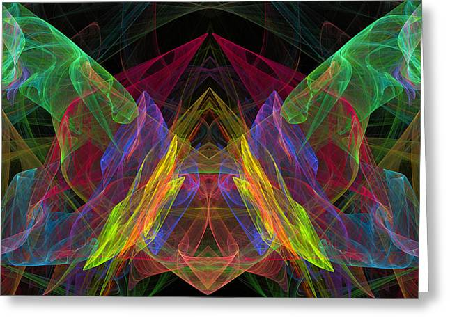 Kaleidoscope Effect Greeting Cards - Computer Generated Abstract Butterfly Fractal Flame Modern Art Greeting Card by Keith Webber Jr