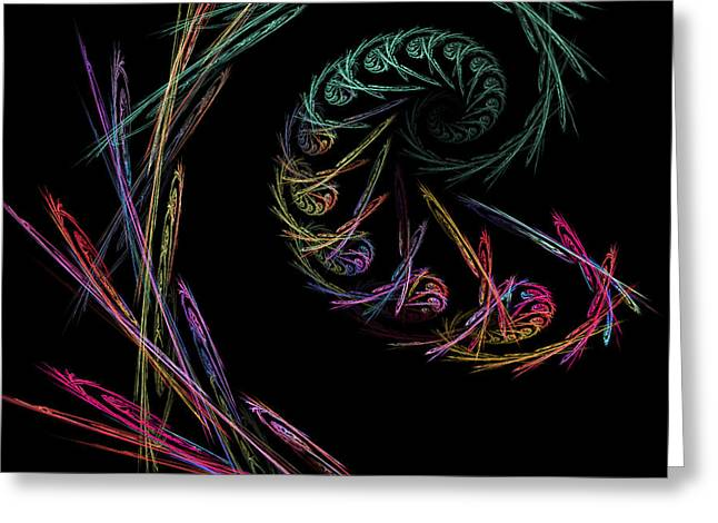 Kaleidoscope Effect Greeting Cards - Computer Generated Abstract Fractal Flame black Modern Art Greeting Card by Keith Webber Jr