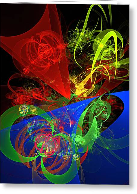 Disk Greeting Cards - Computer Generated Blue Red Green Abstract Fractal Flame Modern Art Greeting Card by Keith Webber Jr
