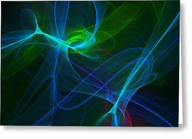 Transparent Green Greeting Cards - Computer Generated Green Blue Abstract Fractal Flame Modern Art Greeting Card by Keith Webber Jr
