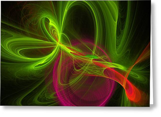 Transparent Green Greeting Cards - Computer Generated Green Magenta Abstract Fractal Modern Art Greeting Card by Keith Webber Jr