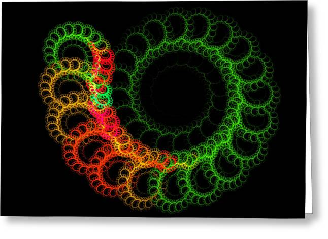 Kaleidoscope Effect Greeting Cards - Computer Generated Green Red Abstract Fractal Flame Modern Art Greeting Card by Keith Webber Jr