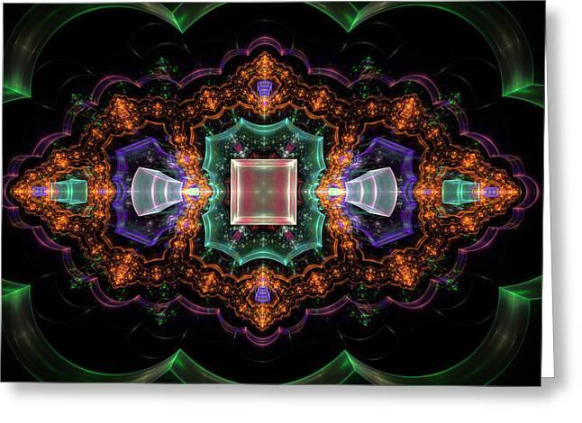 Shiny Digital Art Greeting Cards - Computer Generated Orange 3D Abstract Fractal Flame Modern art Greeting Card by Keith Webber Jr