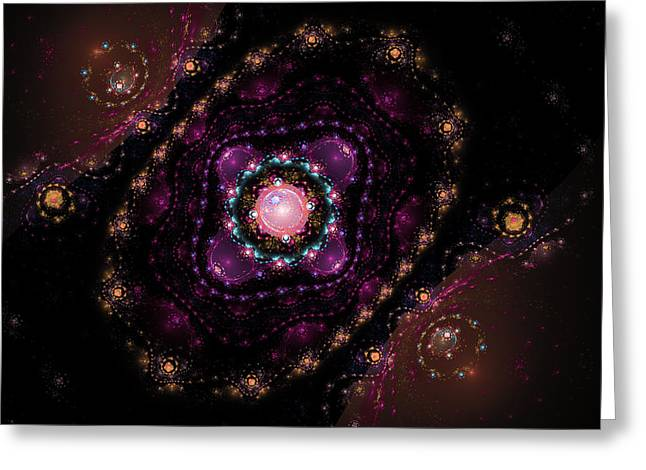 Kaleidoscope Effect Greeting Cards - Computer Generated Pink Magenta Abstract Fractal Flame black Background Greeting Card by Keith Webber Jr