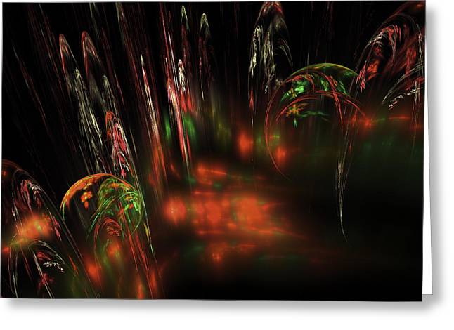 Disk Digital Art Greeting Cards - Computer Generated Red Green Abstract Fractal Flame Modern art Greeting Card by Keith Webber Jr