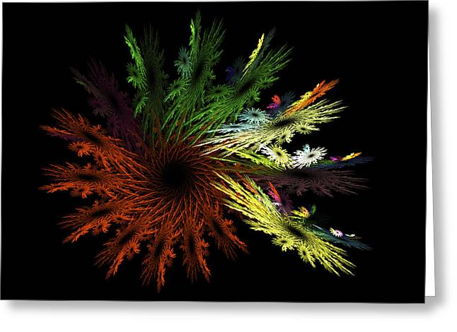 Colorful Blooms Greeting Cards - Computer Generated Red Yellow Green Abstract Fractal Flame black Greeting Card by Keith Webber Jr