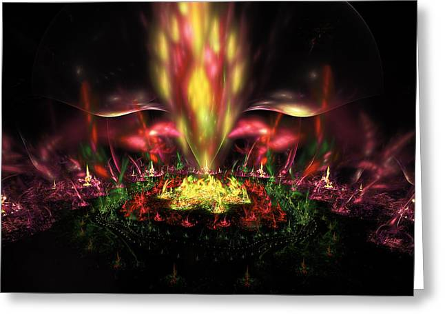 Magenta Greeting Cards - Computer Generated Red Yellow Green Abstract Fractal Flame Greeting Card by Keith Webber Jr