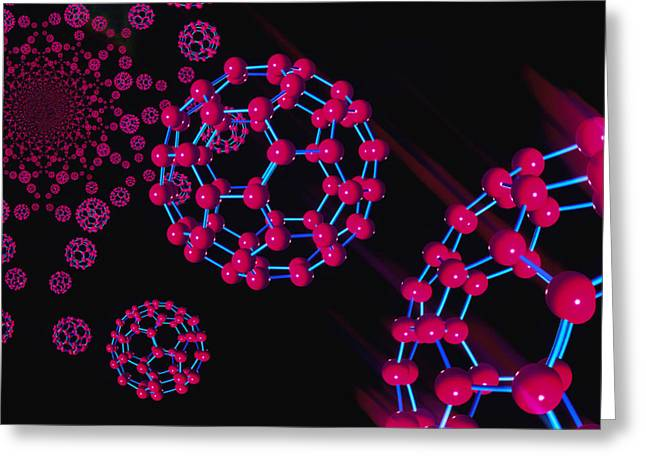Fullerene Greeting Cards - Computer Graphic Of Buckyballs (c60) Greeting Card by Laguna Design