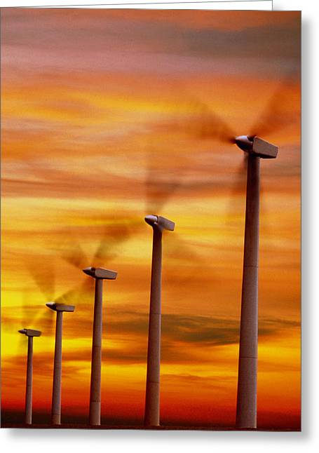 Energy Efficiency Greeting Cards - Computer Graphic Of Wind Farm At Sunset Greeting Card by Geoff Tompkinson