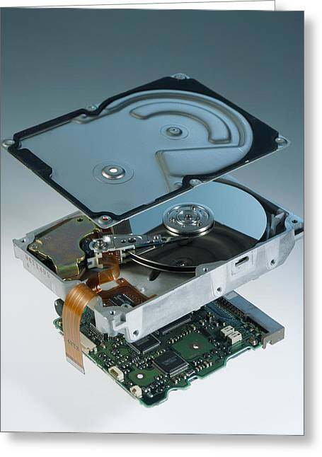 Computer Hard Disk Assembly Greeting Card by Sheila Terry