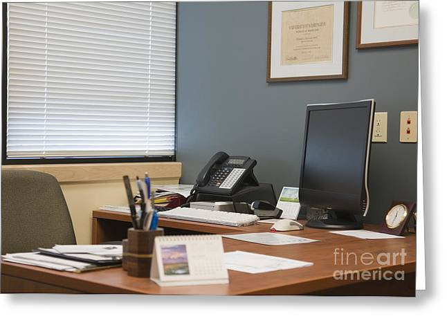 Office Space Photographs Greeting Cards - Computer Monitor and Office Space Greeting Card by Andersen Ross