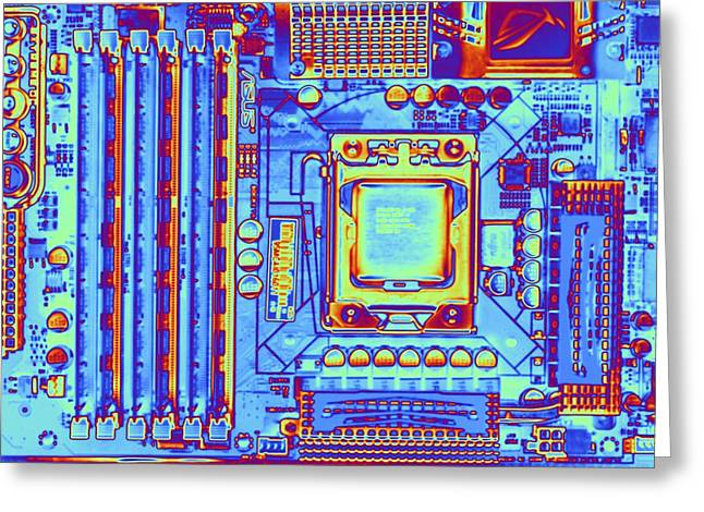 Product Photographs Greeting Cards - Computer Motherboard With Core I7 Cpu Greeting Card by Pasieka