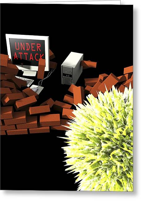 Firewall Greeting Cards - Computer Virus Attack, Computer Artwork Greeting Card by Christian Darkin