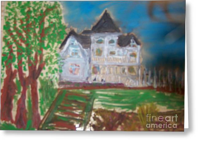 Glass Art Greeting Cards - Concannon White House LDT Series Greeting Card by Maggie Cruser