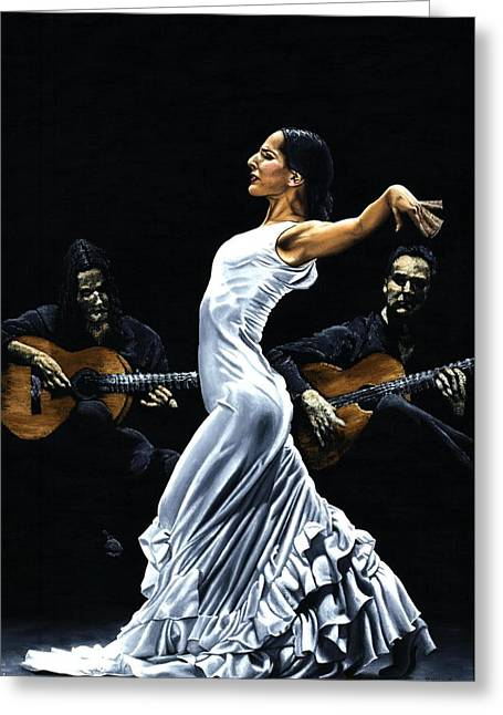 White Dress Paintings Greeting Cards - Concentracion del Funcionamiento del Flamenco Greeting Card by Richard Young