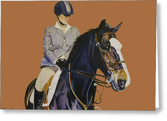 Horse Lover Pastels Greeting Cards - Concentration - Hunter Jumper Horse and Rider Greeting Card by Patricia Barmatz