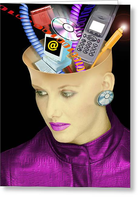 Concept Of A Woman's Head And Communication Greeting Card by Victor Habbick Visions