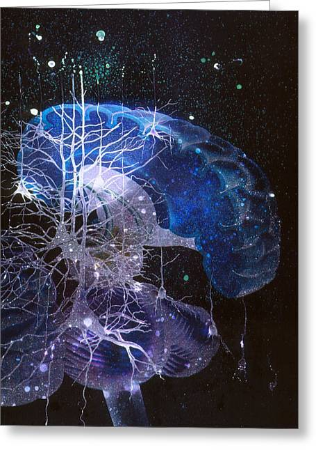 Dementia Greeting Cards - Conceptual Art Of Brain & Nerve Cells In Dementia Greeting Card by Hans-ulrich Osterwalder