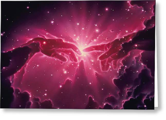 Star Formation Greeting Cards - Conceptual Artwork Of A Star Birth In A Nebula Greeting Card by Joe Tucciarone
