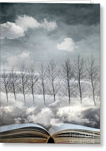 Storybook Greeting Cards - Conceptual image of open book with floating clouds and trees Greeting Card by Sandra Cunningham