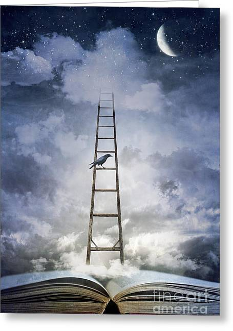 Open Book Greeting Cards - Conceptual image of open book with ladder and floating clouds Greeting Card by Sandra Cunningham