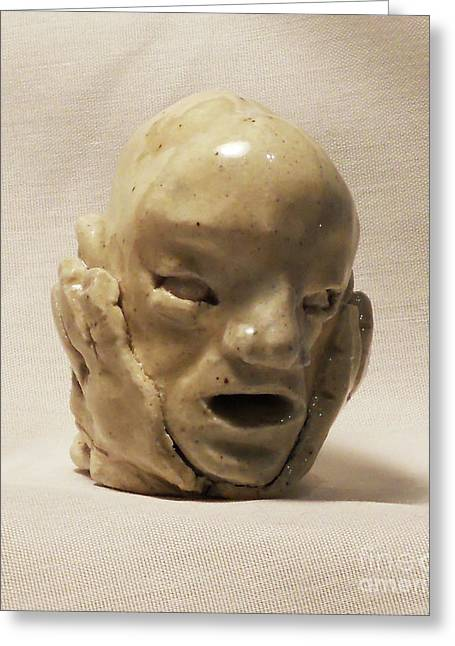 Face Ceramics Greeting Cards - Concern Greeting Card by John Keasler