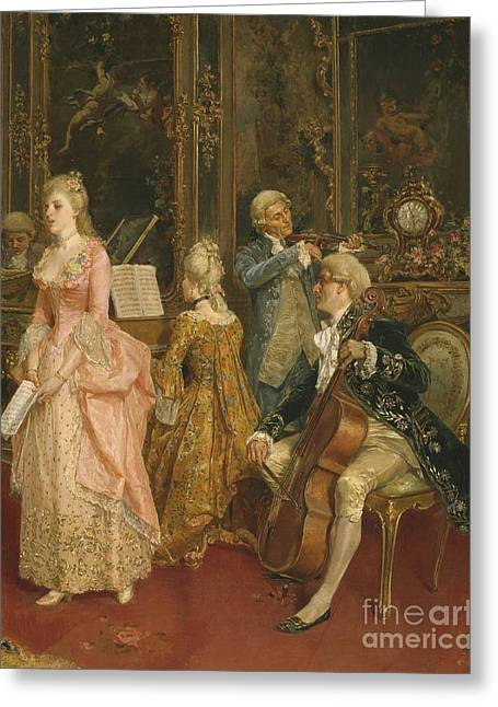 Male Singer Greeting Cards - Concert at the time of Mozart Greeting Card by Ettore Simonetti