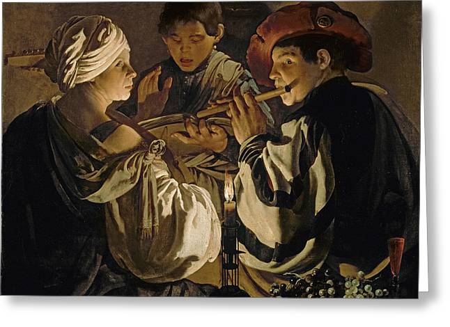 Lute Paintings Greeting Cards - Concert Greeting Card by Hendrick Ter Brugghen