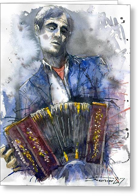 Concertina Player Greeting Card by Yuriy  Shevchuk