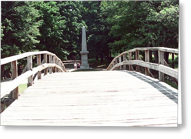 Concord. Historic Greeting Cards - Concord Bridge and Monument Greeting Card by Wayne Sheeler