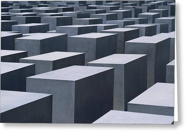 Large Blocks Of Color Greeting Cards - Concrete Blocks At Jewish Holocaust Greeting Card by Axiom Photographic