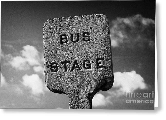 Busstop Greeting Cards - Concrete Northern Ireland Road Transport Board 1935 1948 Bus Stage Stop Road Sign  Greeting Card by Joe Fox