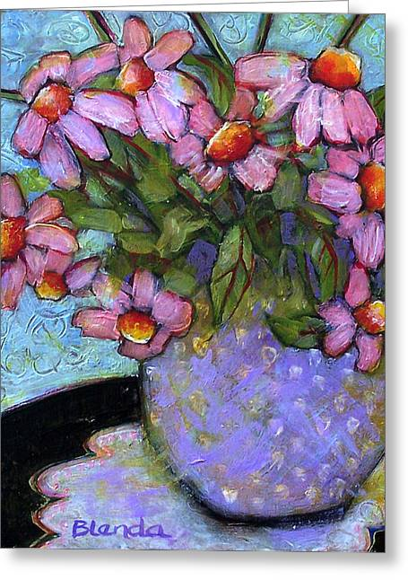 """""""floral Still Life"""" Greeting Cards - Coneflowers in Lavender Vase Greeting Card by Blenda Studio"""