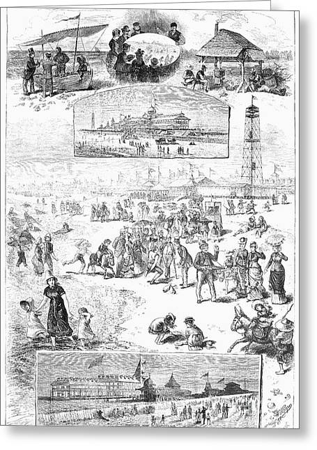 Clam Chowder Greeting Cards - Coney Island, 1878 Greeting Card by Granger