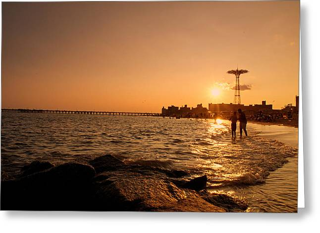 York Beach Greeting Cards - Coney Island Beach Sunset - New York City Greeting Card by Vivienne Gucwa