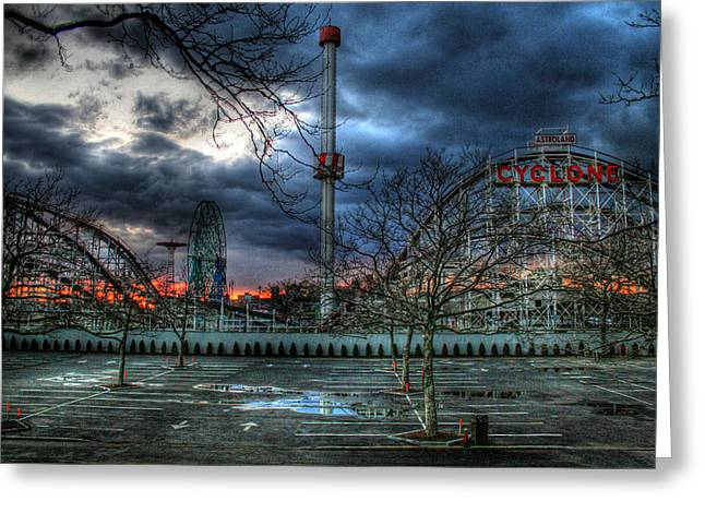 Parking Greeting Cards - Coney Island Greeting Card by Bryan Hochman