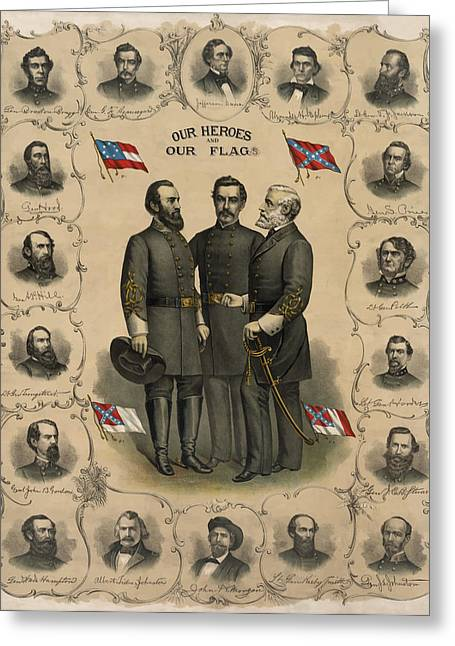 Flags Greeting Cards - Confederate Generals of The Civil War Greeting Card by War Is Hell Store