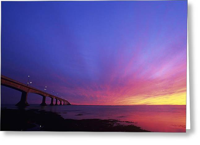 Pillar Box Greeting Cards - Confederation Bridge At Sunset Greeting Card by David Nunuk