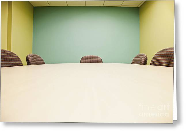 Office Space Photographs Greeting Cards - Conference Room Table and Chairs Greeting Card by Jetta Productions, Inc