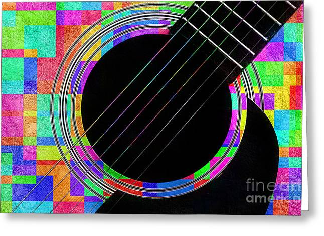 Guitar Body Greeting Cards - Confetti Guitar Greeting Card by Andee Design